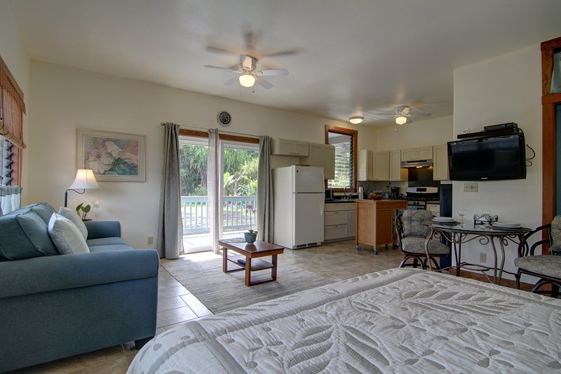 Your private porch is thru the sliding doors. Great for laptop use or watching the birds...