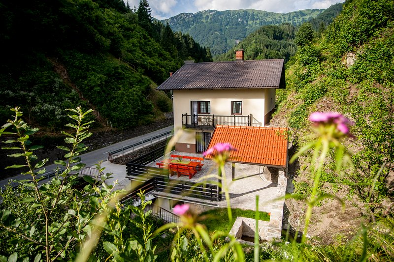 House Apartmaji Utrinek for max. 15 people, with free play room and free garage, location de vacances à Cerkno