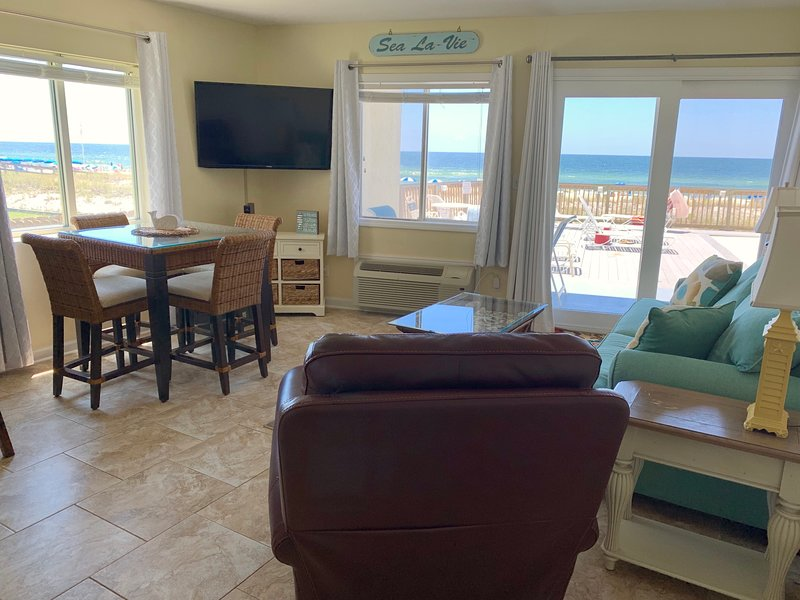 Our corner unit has wonderful views as well as quick access to the pool and beach!