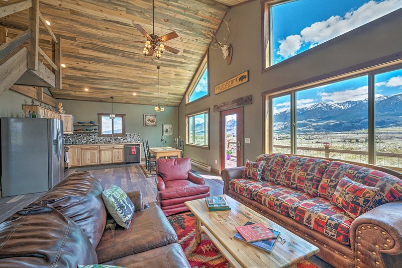 The valley and mountain views from this Livingston cabin won't disappoint!