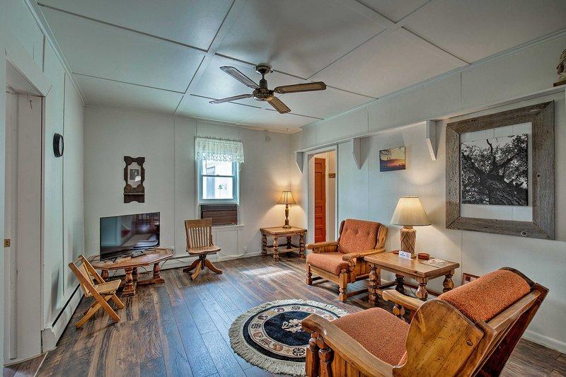This 3-bedroom, 1.5-bathroom vacation rental boasts historic charm.