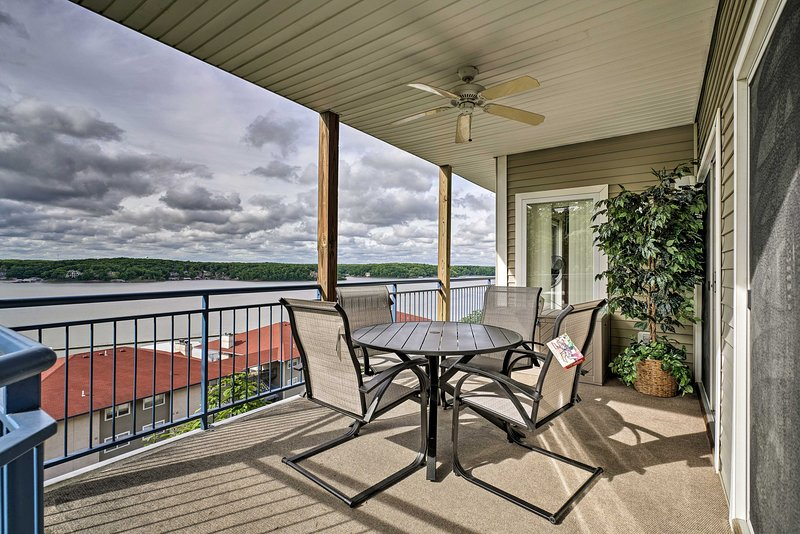 Take in views of Lake of the Ozarks from the deck of this vacation rental condo.