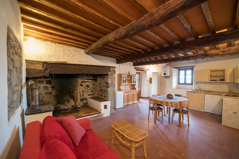 spacious entrance hall with antique fireplace, relaxation area, kitchen and dining room
