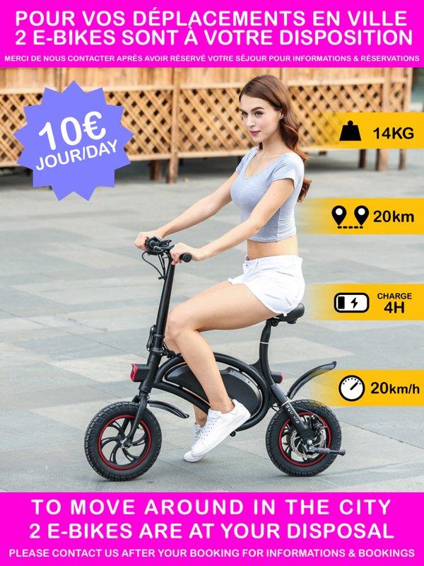 2 e-bikes à sua disposição * para facilitar suas viagens na cidade ou região. * Além disso