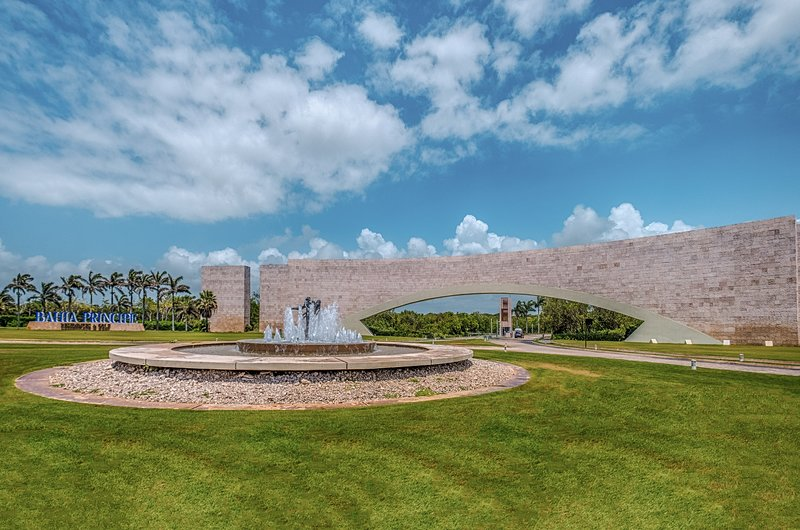 Bahia Principe Residences and Golf Resort has a grand entrance arch.