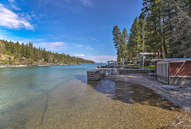 This house boasts an unbeatable location on Flathead Lake!