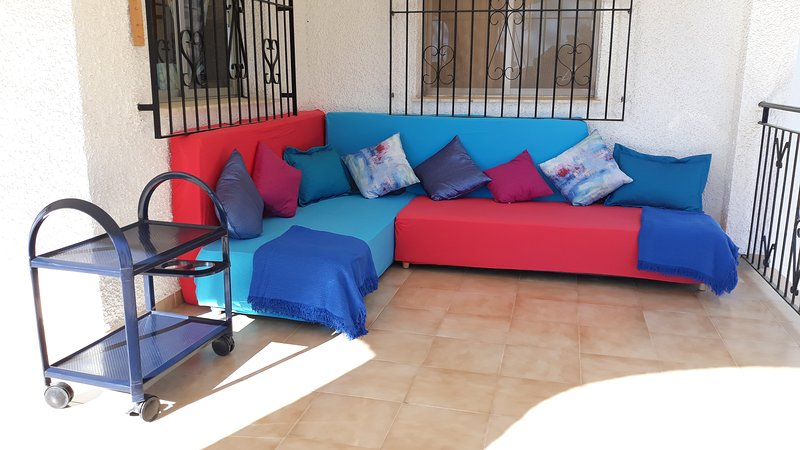 Terrace floor: 2 sofa beds for nap or nights outside with sea and mountains