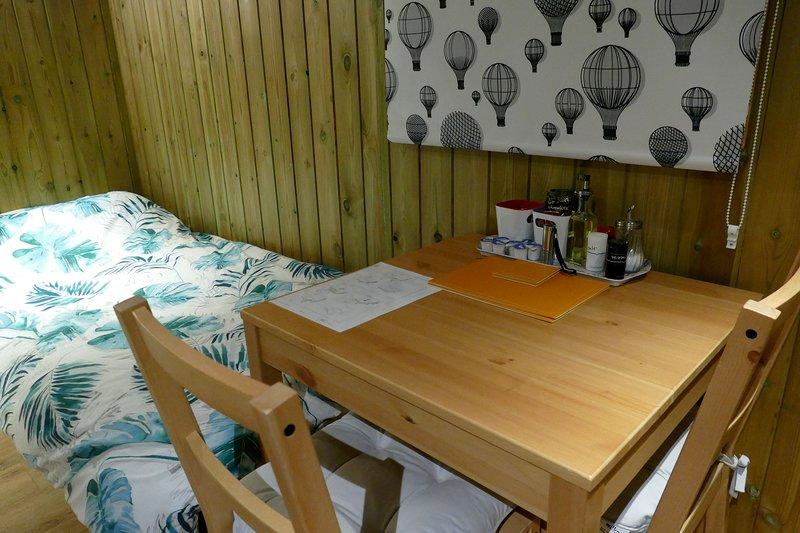 Shepherds hut dining area