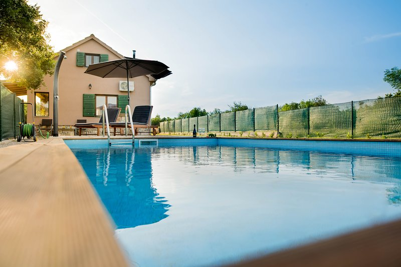 Property building, swimming pool, terrace