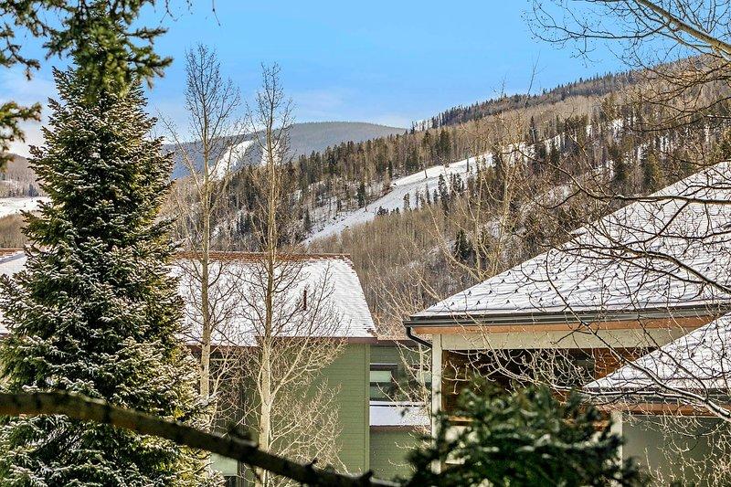 Le ski de montagne de Vail offre une vue depuis le salon. Vista Bahn télécabine et feux d'artifice de vacances Distance