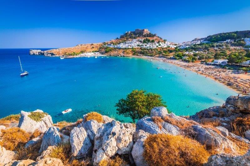 Lindos main Bay and acropolis