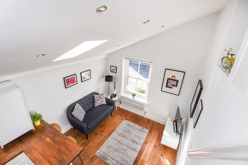 Living area from the mezzanine sleeping area.