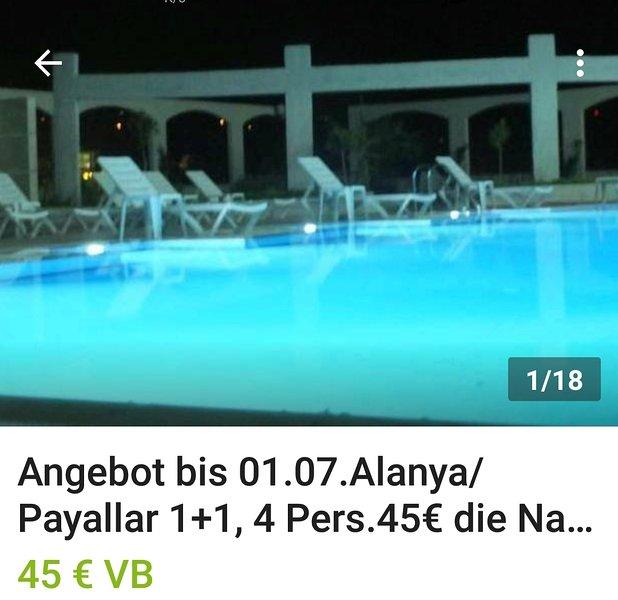 Antalya/ payerlle Ferienwohnung bis zu 4 Personen, holiday rental in Konakli