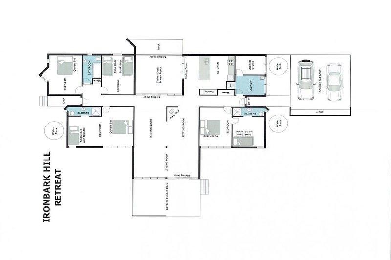 Hunter Valley Accommodation - Ironbark Hill Retreat - Pokolbin - Floor Plan