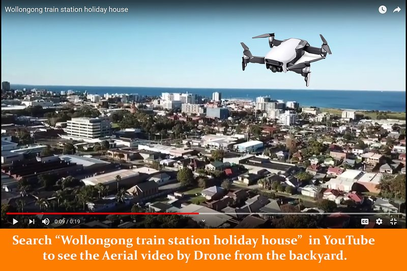 Wollongong train station holiday house aerial video by drone from YouTube.