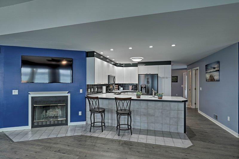 This 4-bedroom, 3.5-bath home boasts modern renovations.