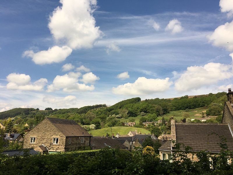 Views to Eyam edge from garden
