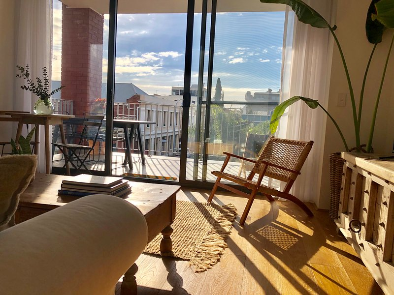 The apartment overlooks historic Fremantle rooftops.