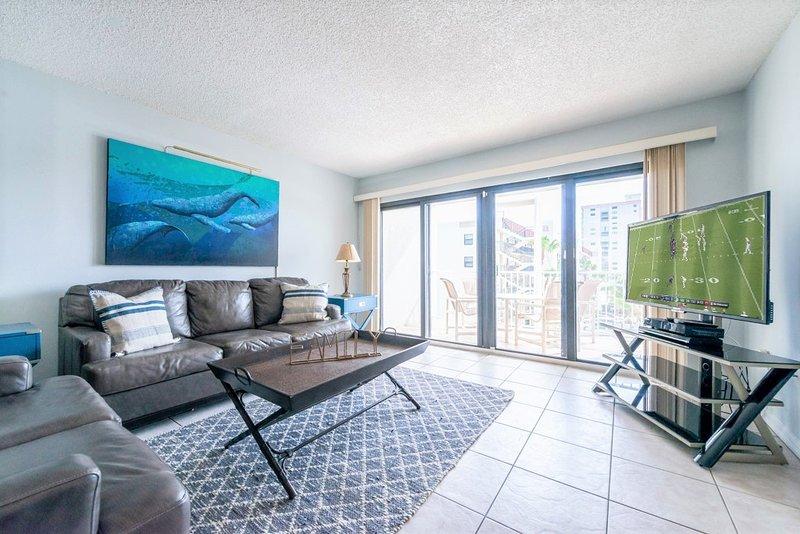 Living room with 55' TV & queen sofa sleeper