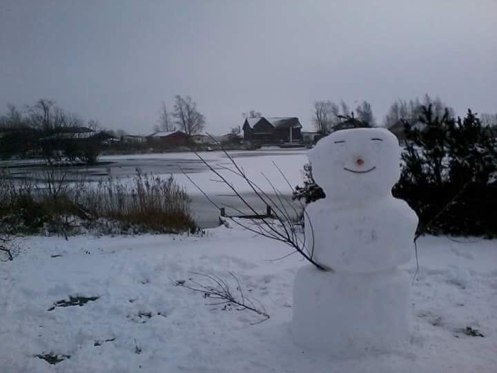 Escena nevada con Aqua Lodge en la distancia