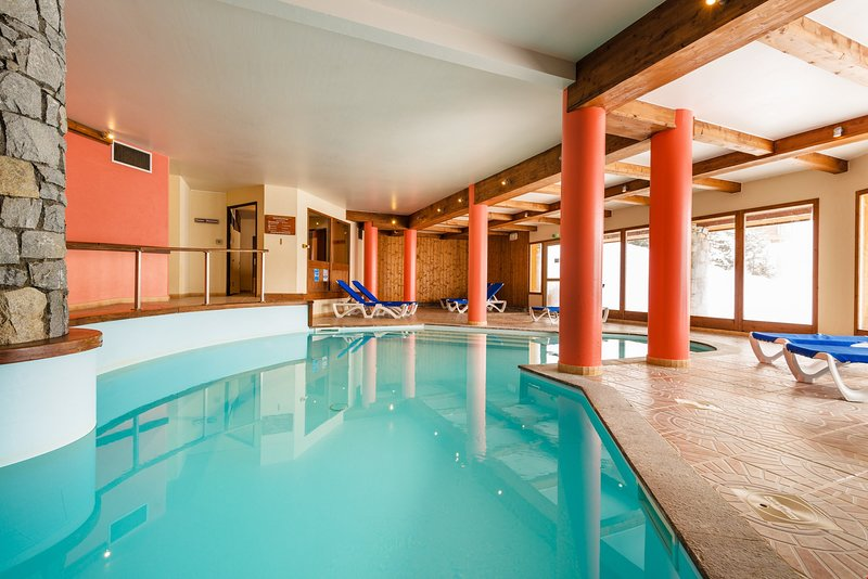 Dive into the lovely on-site pool after a great day.