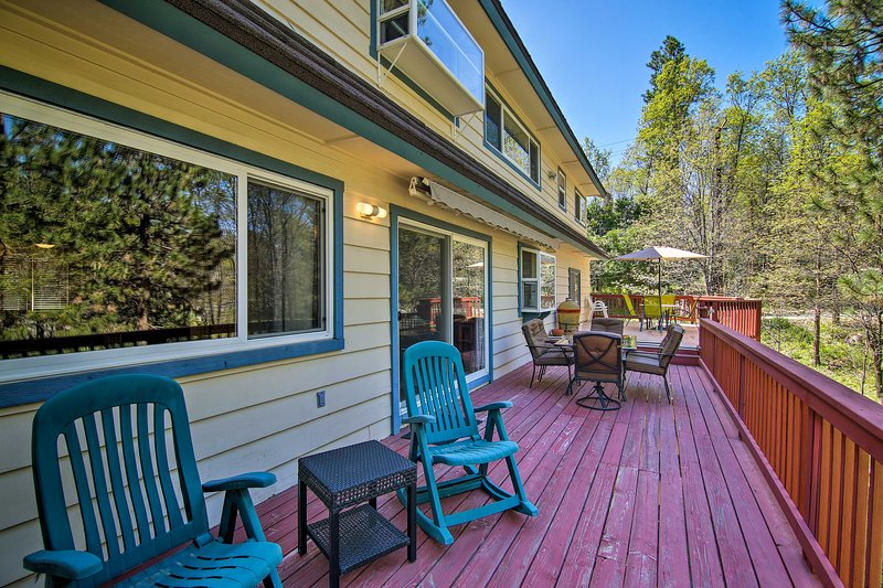 With a furnished deck, this property is the perfect summer getaway.