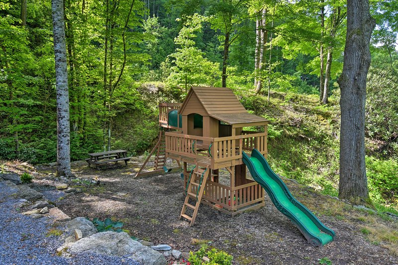 The property features a playground for kids to play on.