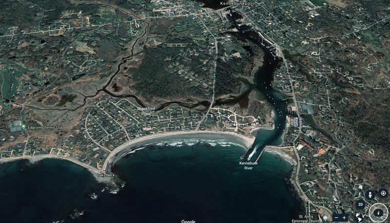 Vista aérea de la playa de Kennebunk
