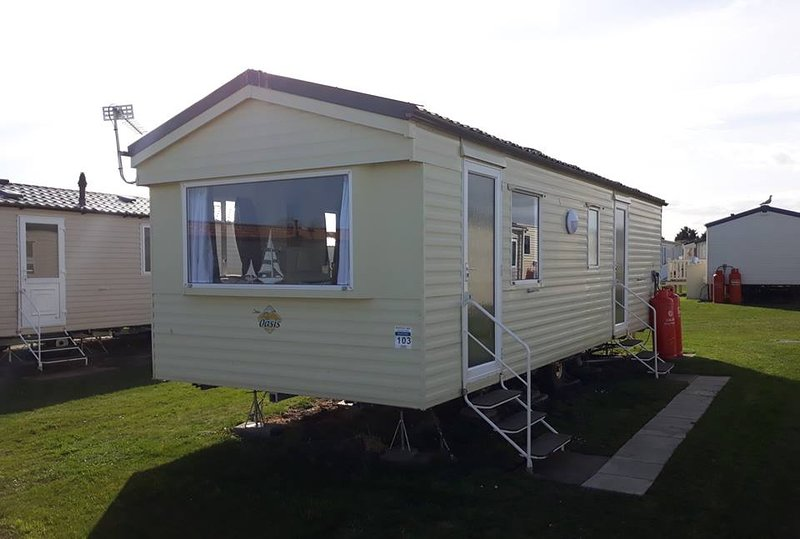 The grassed pitch of Caravan by the bay is ideal for a family picnic & for kiddies to play safely.