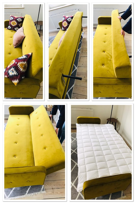 If necessary you can switch the sofa to a bed 190 x 110cm.