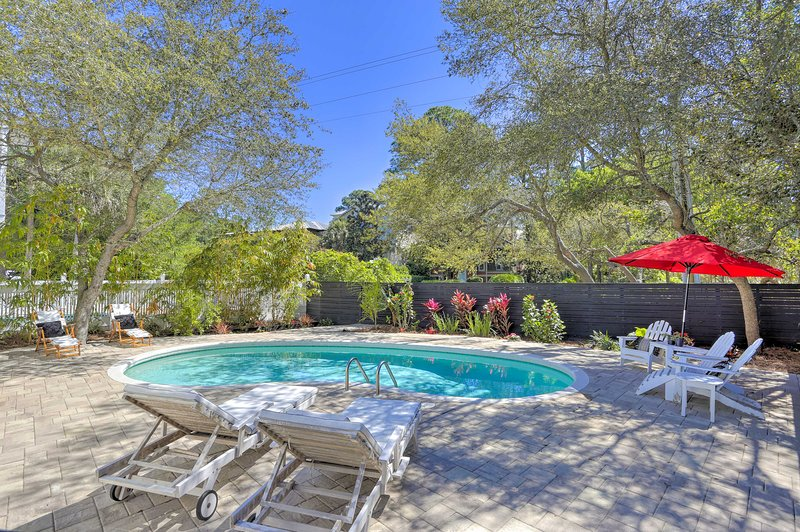 Along with a private pool, this home is just a 5-minute walk from the beach.