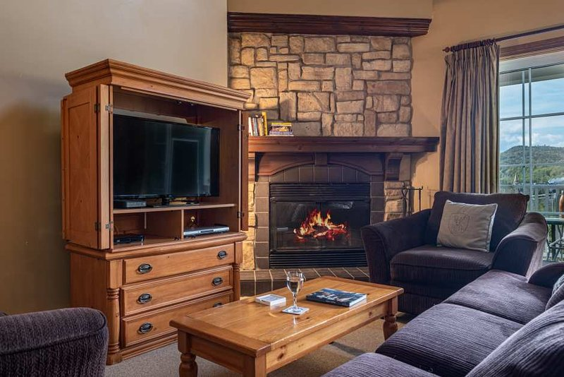 Living Room Features a Cozy Gas Fireplace and Cable TV