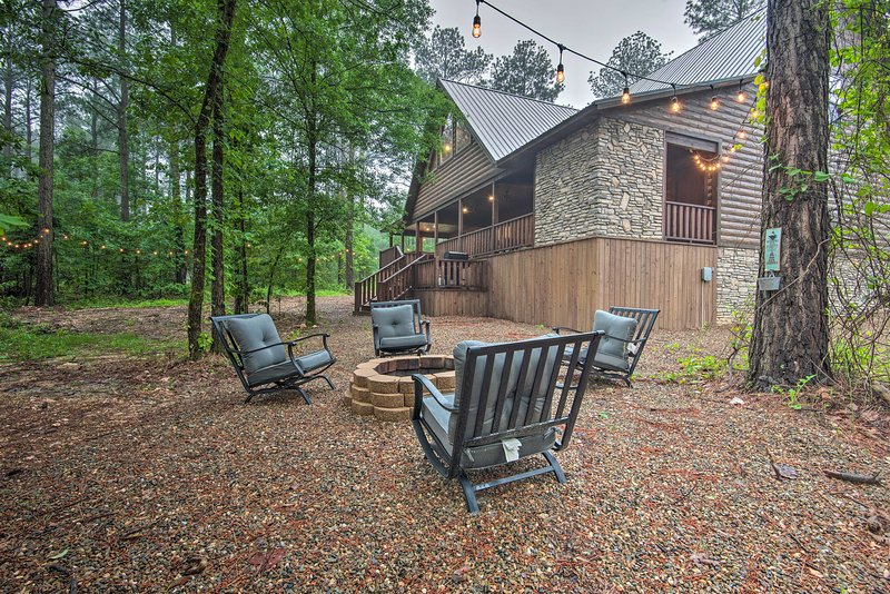 Nestled in the trees, the property offers plenty of peace and privacy.