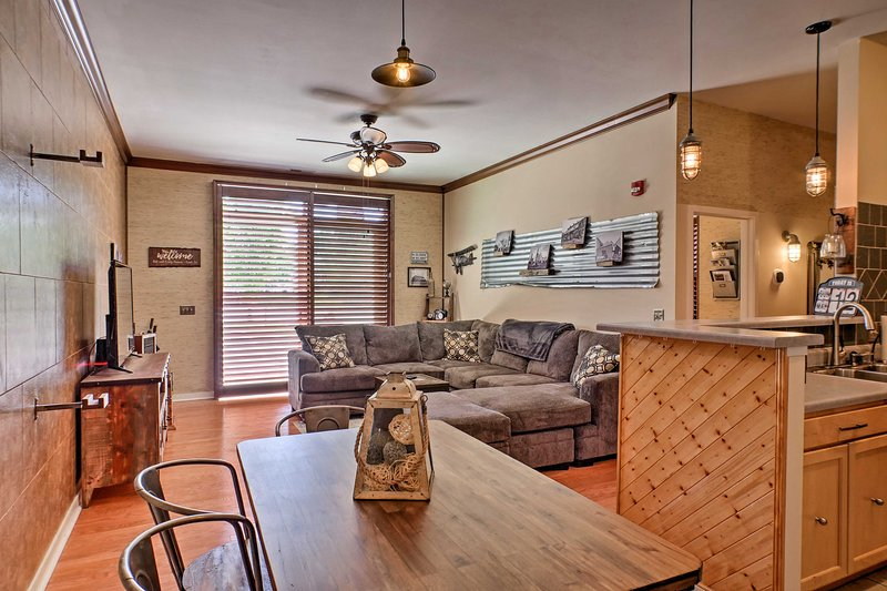 The vacation rental features intriguing decor with nice photography displayed.