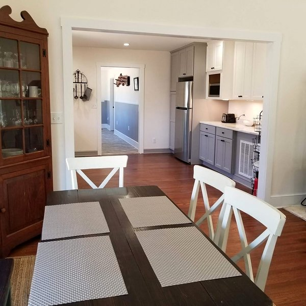 Dining room and kitchen.
