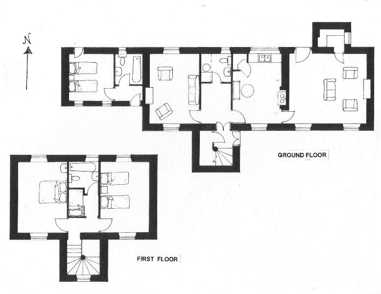 Floor plan. The bedroom & bathroom to the left are not included when house is booked for 5 people