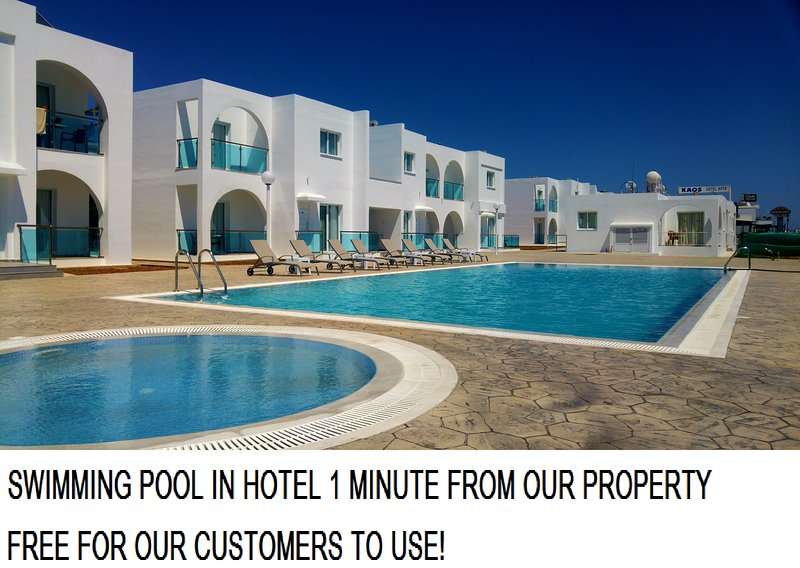 Swimming pool in nearby hotel, 2 minutes' walk from our property - free to use for our customers!
