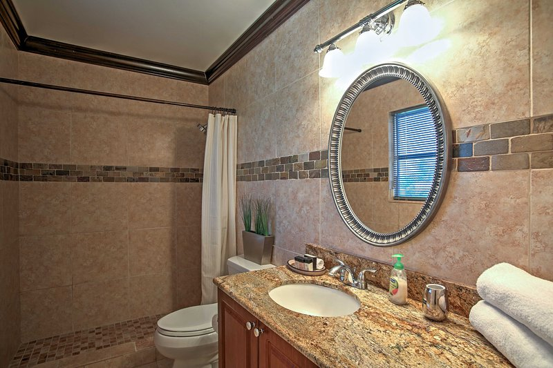 There's a spacious tiled shower in the full bathroom.