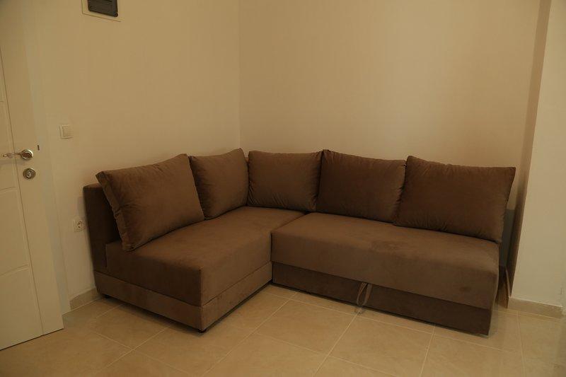 Appartement d'une chambre pour cinq personnes avec espace de vie équipé d'un canapé-lit confortable