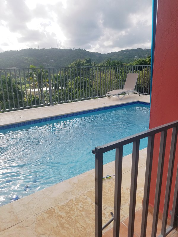 Mountainside pool 20x10 with views to El Yunque National Rainforest, valley below, and ocean!