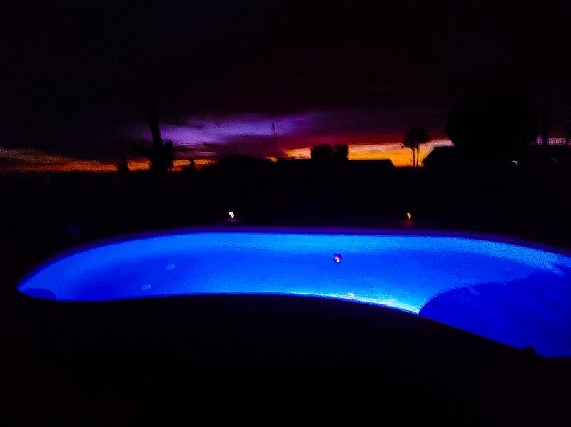 Baja Pool at night Mesmerizing Sunset