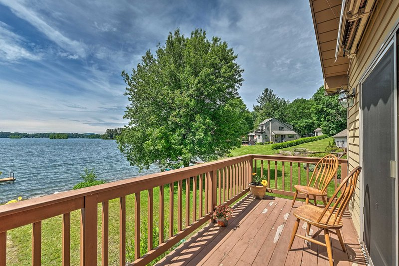 The 3-bedroom, 2-bath home sits on Pontoosuc Lake and has a wraparound deck!