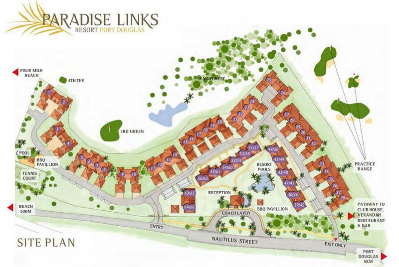 Paradise Links has tropical gardens dotted with private luxury villas.