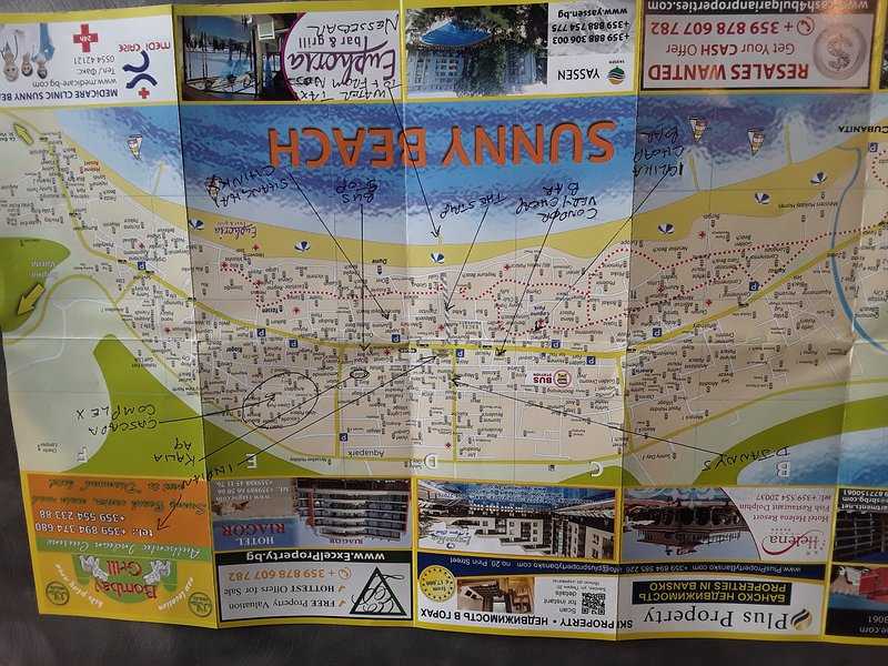 Map of sunny beach few places of interest