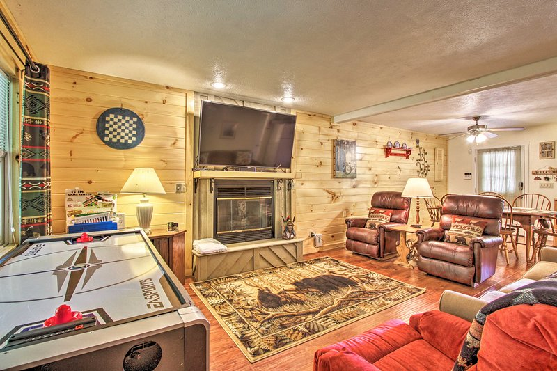Book a trip to this 3-bedroom, 2-bathroom vacation rental cabin in Sevierville.