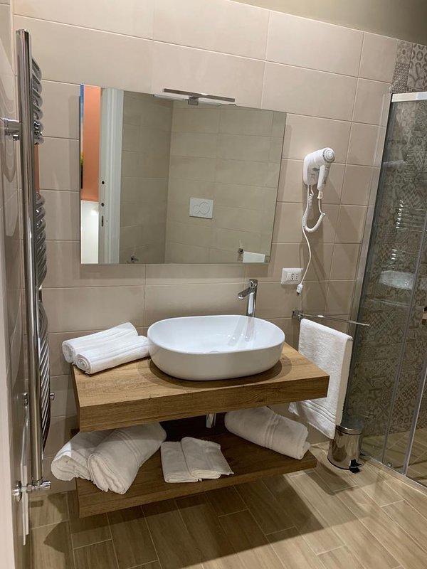 full bathroom in the room