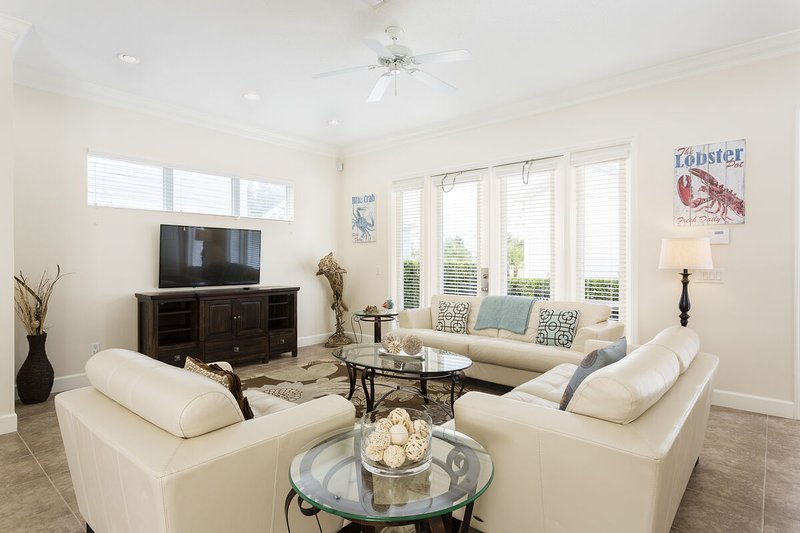 The living room is a wonderful place to gather around for your favorite movie or show