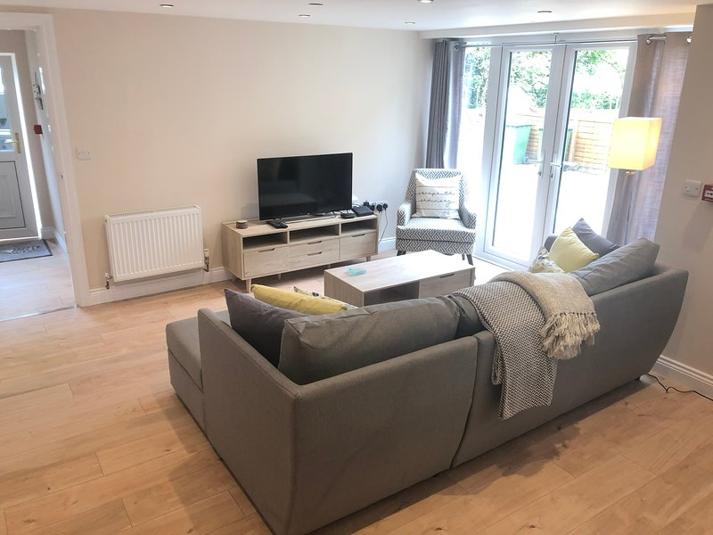 spacious lounge area with sofa bed