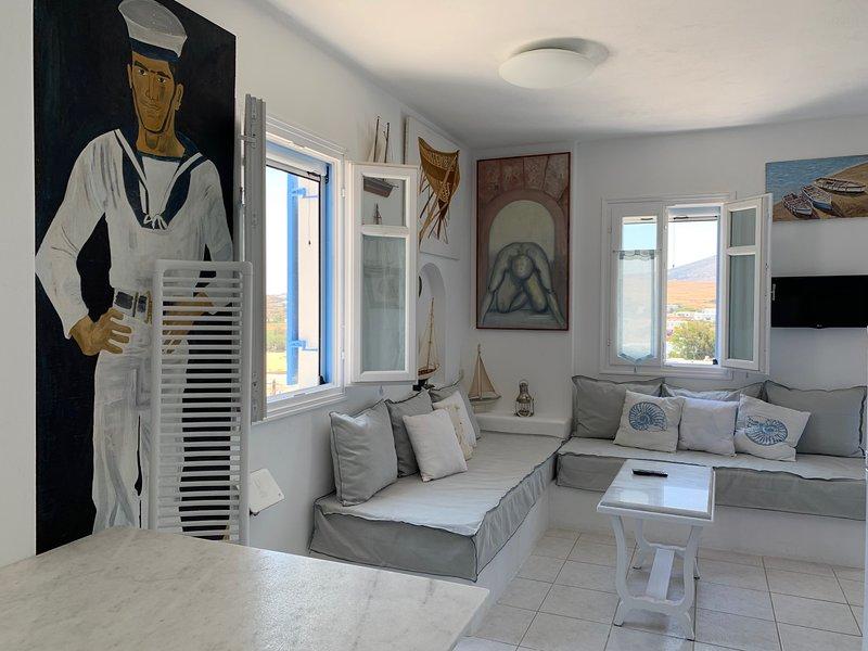 Aiolos home|2bedrooms with amazing sea view, 2min from Logaras beach, casa vacanza a Paros
