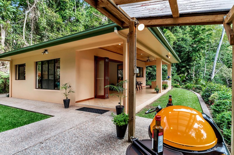 BBQ and Front Patio with Private Tropical Rainforest Views